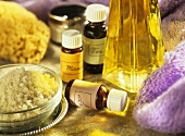 Manuka, tea tree and lavender oils for aromatherapy