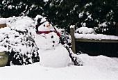 Ein Schneemann im Garten