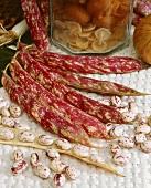 Borlotti beans, pods and beans