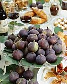 Fresh figs on cake stand