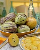 Pepinos (Solanum muricatum), whole and sliced