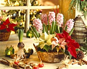 Christmas still life with flower arrangement