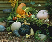 Pumpkins and stone figure (garden decoration)