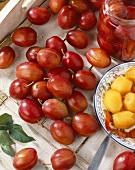 Peeled and unpeeled plums, variety 'Victoria'