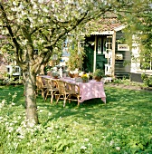 Garden decorations on table under flowering tree