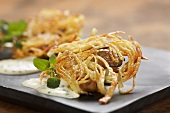 Austernpilze im Kartoffelnest