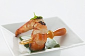 Atlantic prawn with coriander essence and shellfish fumé