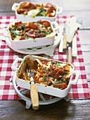 Tomato lasagne with Serrano ham and lemon pesto