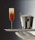 Benedictine cocktail and ice bucket on silver salver