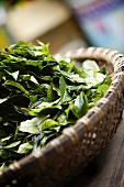 Fresh tea leaves in a basket on a market stall in Vietnam