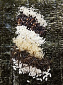 Various types of rice on dried nori sheets
