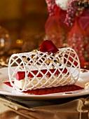 Vacherin dessert with raspberry sorbet