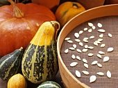 Pumpkin seeds drying on a sieve, assorted squashes & pumpkins