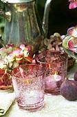 Autumn decoration: windlights with hydrangeas & figs