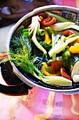 Steamed vegetables in a pan
