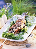 Grilled trout and pepper kebab