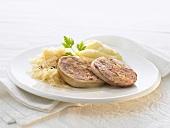 Saumagen (stuffed pig's stomach), sauerkraut & mash (Palatinate)