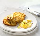 Wiener schnitzel with anchovy, caper, lemon & potato salad