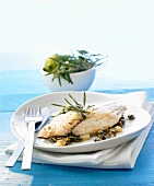 Fish fillet with lime and caper butter and rosemary
