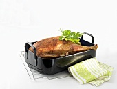 Roast goose in roasting tin (cooked for 8 hours at low temperature)