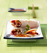 Rice paper rolls with papaya and vegetable filling