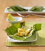 Redfish fillet in a banana leaf