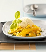 Mango compote with basil and vanilla ice cream
