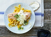 Salmon trout with horseradish on radish & pineapple salad