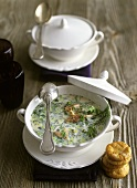 Smoked trout cream soup with leeks, dill and chervil