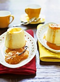 Set custard with orange compote