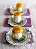 Cardamom & honey ice cream with mandarin oranges & honey sauce
