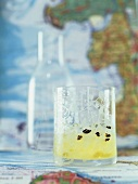 Rum and Chartreuse drink with crushed coffee beans