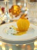 Cardamom orange with walnut ice cream & wine caramel sauce