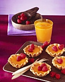 Fruit tarts with raspberries