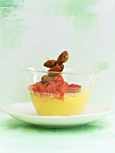 Zabaglione with strawberries and candied almonds