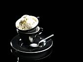 Liquorice and pecan ice cream
