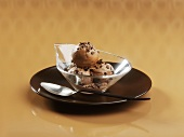 Chocolate ice cream with chocolate flakes