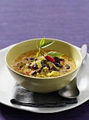 Spicy curry coconut soup with red kidney beans