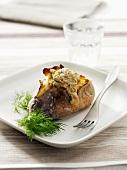 Baked potato with amaranth caviar (amaranth sauce)