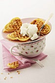 Pineapple and coconut waffles with lime ice cream