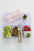 Wholemeal sandwich, salad, radishes, soft cheese in lunchbox