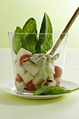 Tomato and melon salad with spinach and Gorgonzola sauce