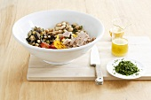 Vegetable salad with white beans and tuna