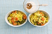 Vegetable couscous with curry and garam masala sauce