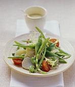 Jerusalem artichoke, green bean and cherry tomato salad