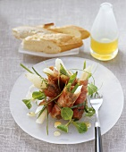 Ham rolls with scorzonera and lemon vinaigrette