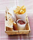 Baked swede wedges with tomato sauce, flatbread