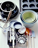 Various baking tins and baking utensils