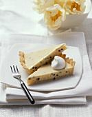 Passion fruit cream cheese tart with vanilla cream