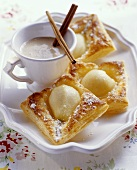 Puff pastry pear slices, with cinnamon sabayon